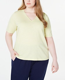 Eileen Fisher Plus Size Organic Cotton Striped V-Neck Top