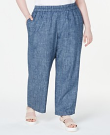 Eileen Fisher Plus Size Organic Straight-Leg Pull-On Pants