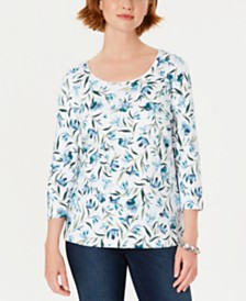 Karen Scott Petite Audra Oasis Printed Top, Created for Macy's
