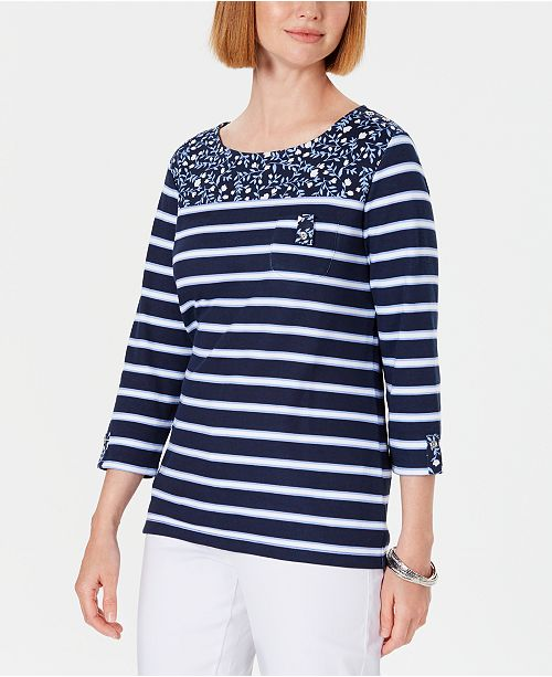 Karen Scott Petite Ditsy Floral & Striped Pocket Top, Created for Macy's