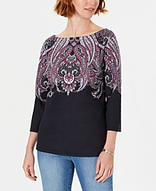 Lile Paisley Boat-Neck Top, Created for Macy's