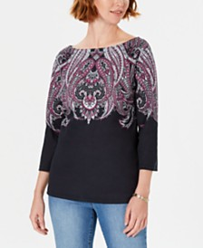 Karen Scott Lile Paisley Boat-Neck Top, Created for Macy's