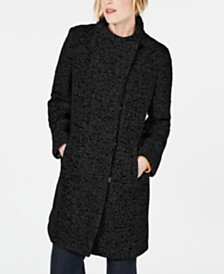 Kenneth Cole Petite Asymmetrical Bouclé Walker Coat