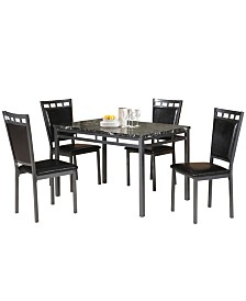 Marble And Metal 5 Pieces Dining Set