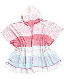 Fraas Beach Ruana/Wrap with Stripes and Hood