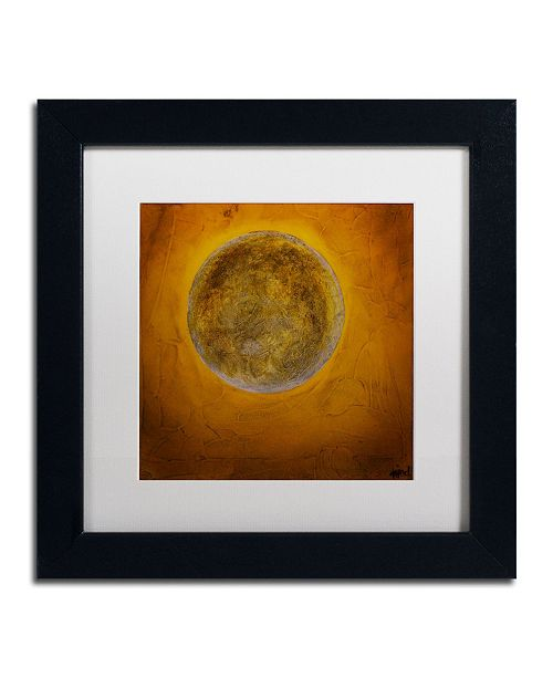 "Trademark Global Nicole Dietz 'Moon on Yellow' Matted Framed Art - 11"" x 11"""