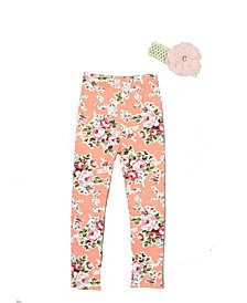 Mi Amore Gigi Little and Big Girls Floral Leggings Includes Crochet Flower Headband