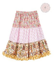 Big Girls Longer Length Peasant Skirt and Hair Accessory
