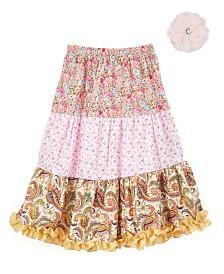 Longer Length Peasant Skirt and Hair Accessory
