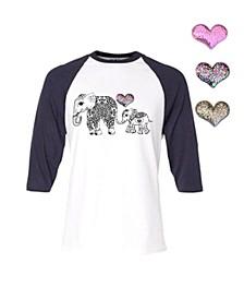 Little and Big Girls Interchangeable Heart 3D Graphic Elephant Top