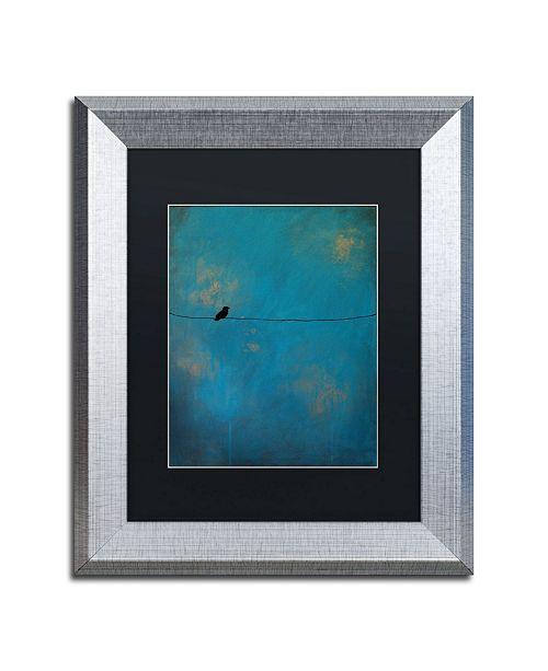 """Trademark Global Nicole Dietz 'Lone Bird Blue' Matted Framed Art - 11"""" x 14"""""""
