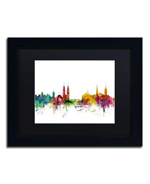 "Trademark Global Michael Tompsett 'Zurich Switzerland Skyline II' Matted Framed Art - 11"" x 14"""