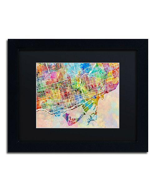 "Trademark Global Michael Tompsett 'Toronto Street Map' Matted Framed Art - 11"" x 14"""