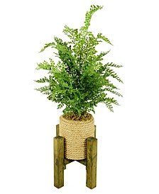 """29"""" Tall Real Touch Leaves Hemp Rope Pot with Wooden Stand"""