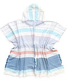 Beach Ruana/Wrap with Stripes and Hood