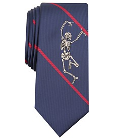 I.N.C. Men's Skinny Dancing Skeleton Stripe Tie, Created for Macy's