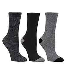 Women's 3pk Mid-Weight Crew Cut Socks, Online Only