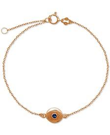 Blue Glass Evil Eye Ankle Bracelet in Sterling Silver
