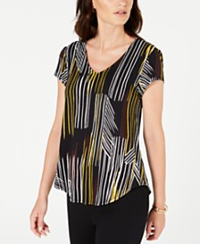 Alfani Printed V-Neck T-Shirt, Created by Macy's