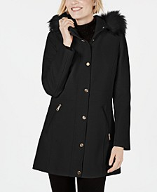 INC Faux-Fur-Trim Hooded Coat, Created for Macys