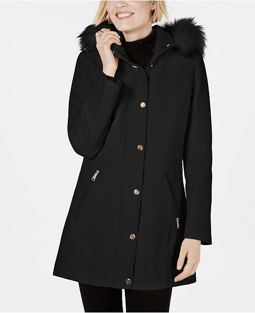 INC International Concepts INC Faux-Fur-Trim Hooded Coat, Created for Macys