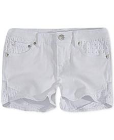 Little Girls Floral Embroidered Denim Shorts