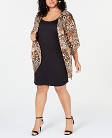 Love Squared Trendy Plus Size Sheath Dress & Animal-Print Overlay