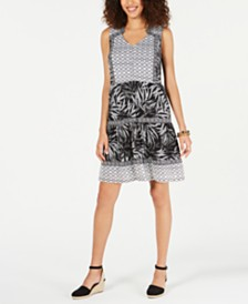 Style & Co Mixed-Print Sleeveless Dress, Created for Macy's