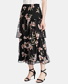 Floral-Print Tiered Georgette Peasant Skirt