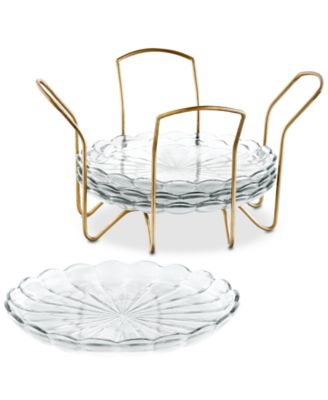 CLOSEOUT! Set of 4 Appetizer Plates with Gold Caddy, Created For Macy's
