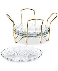 Set of 4 Appetizer Plates with Gold Caddy, Created For Macy's