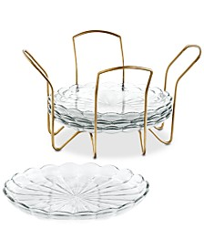 Martha Stewart Collection Set of 4 Appetizer Plates with Gold Caddy, Created For Macy's