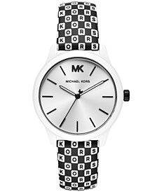 Michael Kors Women's Slim Runway Black  White Logo Leather Strap Watch 38mm
