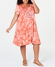 Plus Size Tie-Dyed Graphic T-Shirt Dress, Created for Macy's