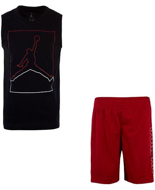Jordan Toddler Boys 2-Pc. Jumpman-Print Muscle Tank Top & Shorts Set