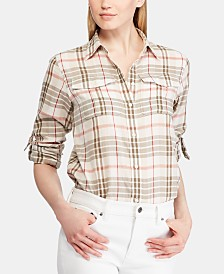 Lauren Ralph Lauren Plaid-Print Button-Up Cotton Shirt