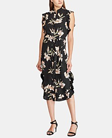 Floral-Print Ruffled-Hem Crepe Dress