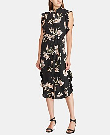 Lauren Ralph Lauren Floral-Print Ruffled-Hem Crepe Dress