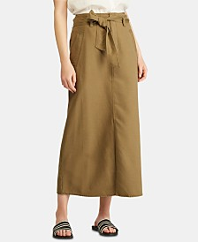 Lauren Ralph Lauren Belted Canvas Skirt