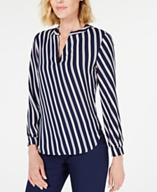 Anne Klein Striped High-Low V-Neck Top