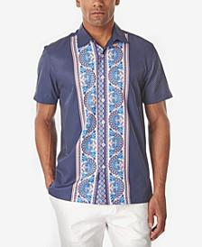 Men's Ornate Panel Slim Fit Camp Shirt