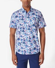 Tallia Men's Floral Leaf Slim Fit Woven Shirt