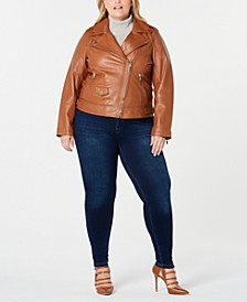 Plus Size Asymmetrical Leather Moto Jacket