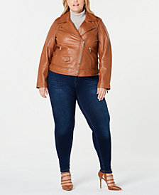 Michael Michael Kors Plus Size Asymmetrical Leather Moto Jacket