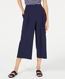 Maison Jules Pleated Cropped Trousers, Created for Macy's