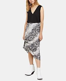 Snakeskin-Print Midi Skirt