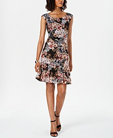 Floral-Print Lace Shift Dress