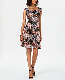 Connected Floral-Print Lace Shift Dress