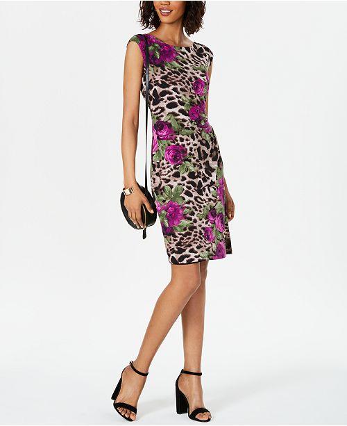 Connected Mixed-Print Draped Sheath Dress