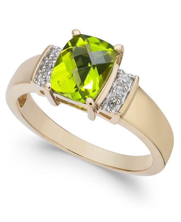 Macy's Peridot (1-5/8 ct. t.w.) & Diamond (1/10 ct. t.w.) Ring in 14k Gold